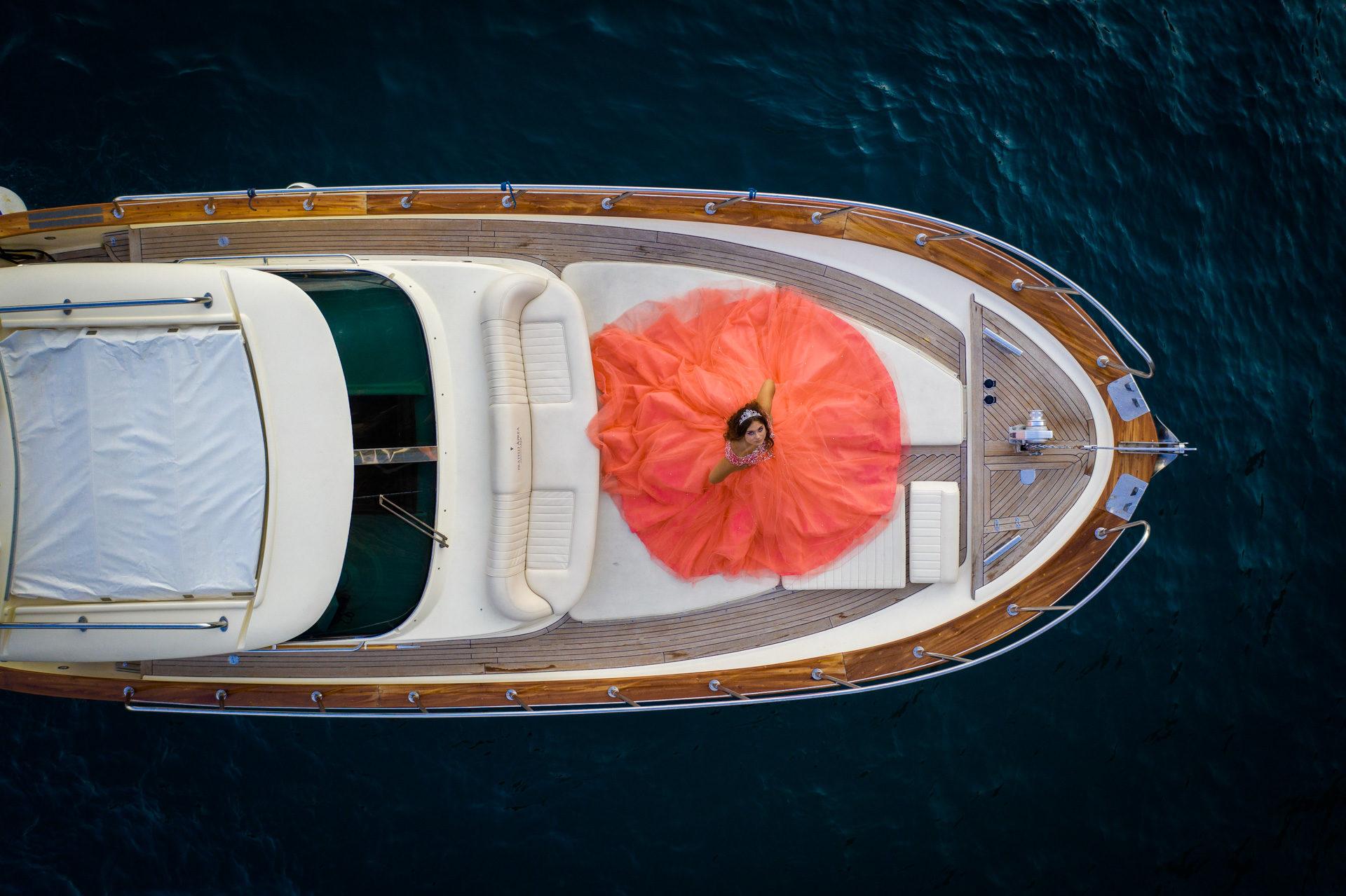Fashion Shooting Quinceanera Positano Vito Fusco Yacht Photography